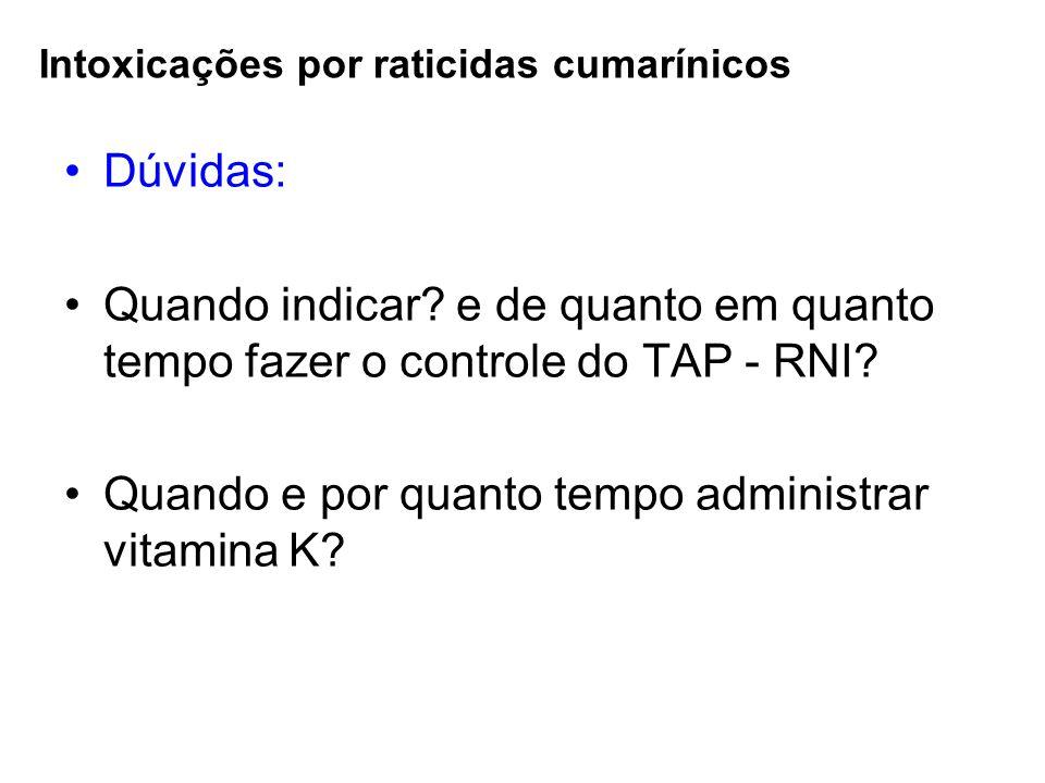 Intoxicações por raticidas cumarínicos Dúvidas: Quando indicar? e de quanto em quanto tempo fazer o controle do TAP - RNI? Quando e por quanto tempo a