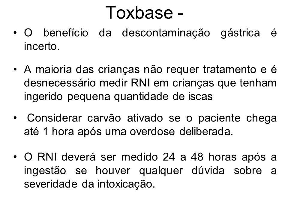 Toxbase - O benefício da descontaminação gástrica é incerto. A maioria das crianças não requer tratamento e é desnecessário medir RNI em crianças que