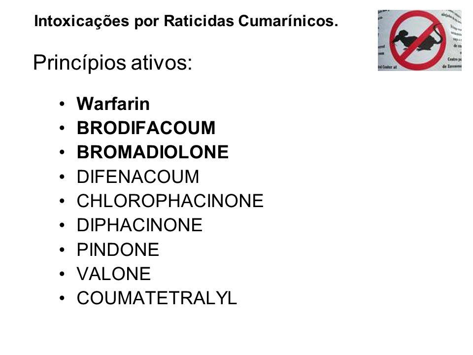 Warfarin BRODIFACOUM BROMADIOLONE DIFENACOUM CHLOROPHACINONE DIPHACINONE PINDONE VALONE COUMATETRALYL Intoxicações por Raticidas Cumarínicos. Princípi