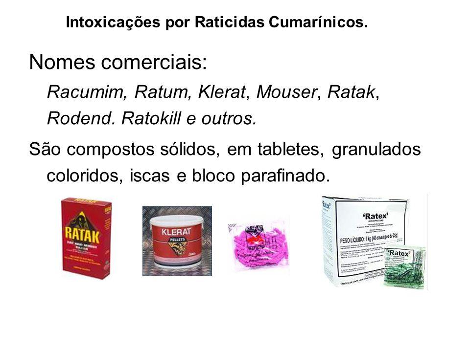 Nomes comerciais: Racumim, Ratum, Klerat, Mouser, Ratak, Rodend. Ratokill e outros. São compostos sólidos, em tabletes, granulados coloridos, iscas e