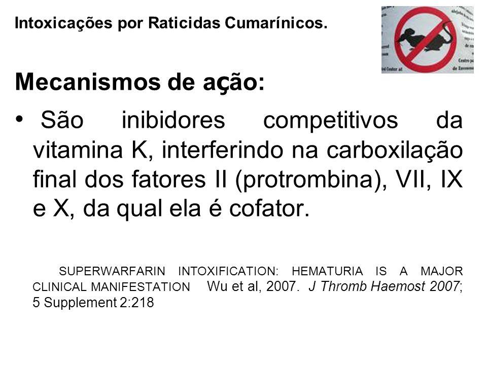 Mecanismos de a ç ão: São inibidores competitivos da vitamina K, interferindo na carboxilação final dos fatores II (protrombina), VII, IX e X, da qual