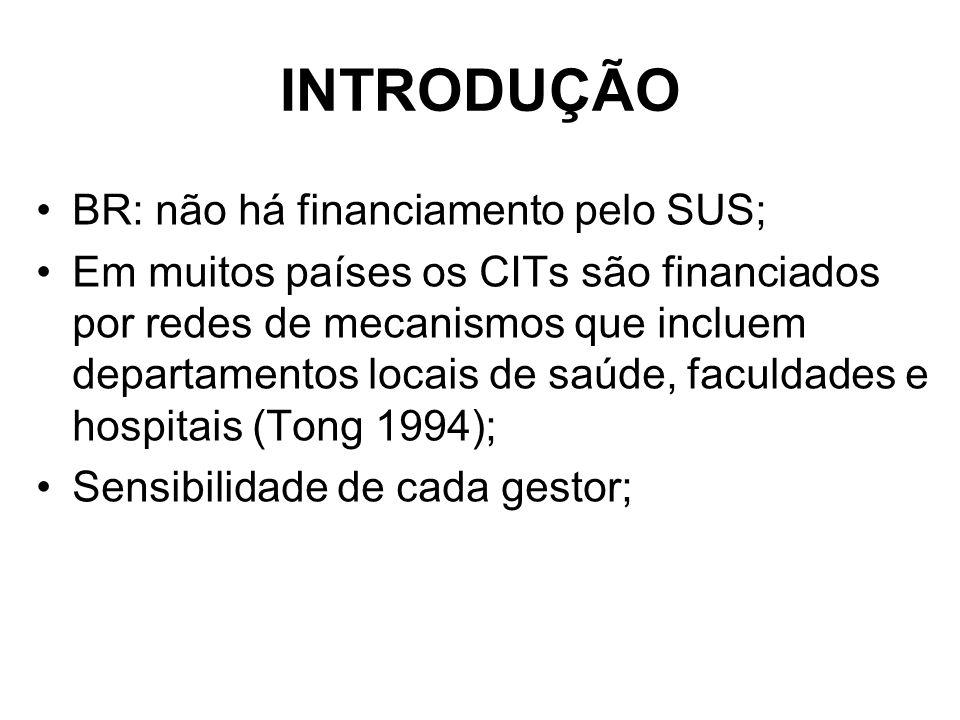 INTRODUÇÃO BR: não há financiamento pelo SUS; Em muitos países os CITs são financiados por redes de mecanismos que incluem departamentos locais de saúde, faculdades e hospitais (Tong 1994); Sensibilidade de cada gestor;