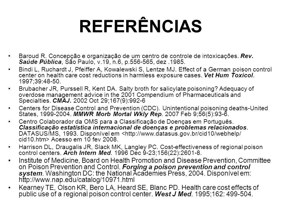 REFERÊNCIAS Baroud R.Concepção e organização de um centro de controle de intoxicações.