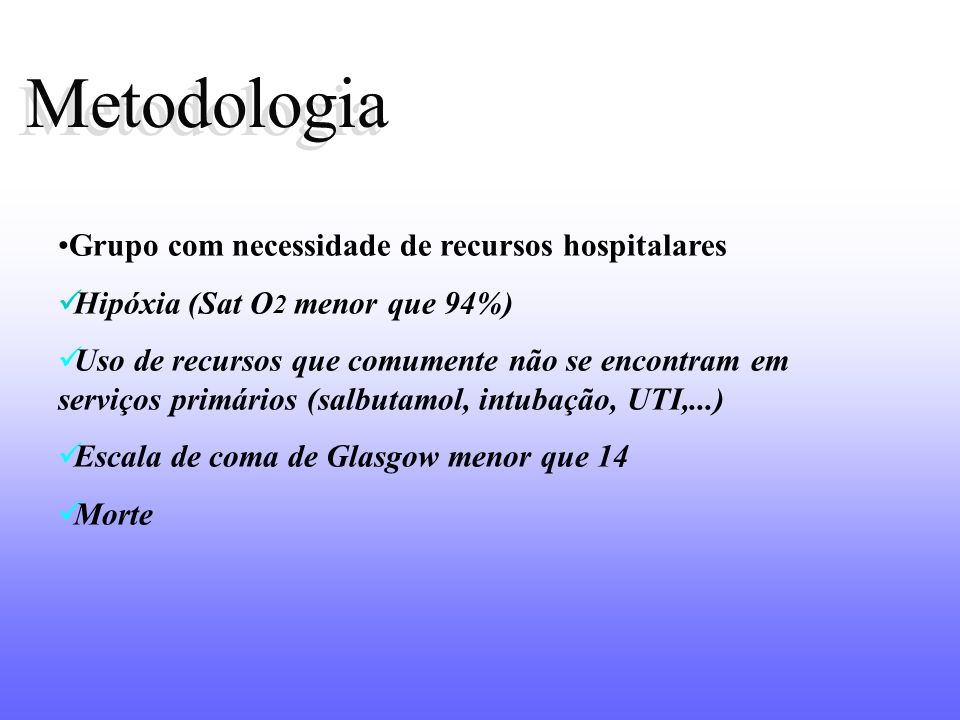 Metodologia Grupo com necessidade de recursos hospitalares Hipóxia (Sat O 2 menor que 94%) Uso de recursos que comumente não se encontram em serviços