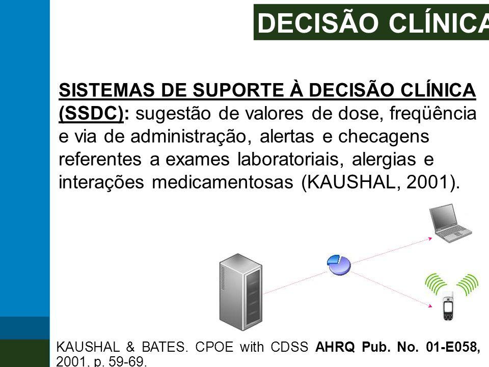 DECISÃO CLÍNICA SISTEMAS DE SUPORTE À DECISÃO CLÍNICA (SSDC): sugestão de valores de dose, freqüência e via de administração, alertas e checagens refe