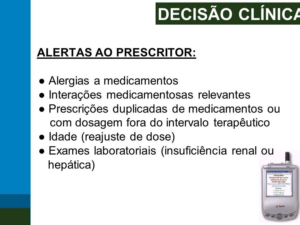 DECISÃO CLÍNICA ALERTAS AO PRESCRITOR: ● Alergias a medicamentos ● Interações medicamentosas relevantes ● Prescrições duplicadas de medicamentos ou co
