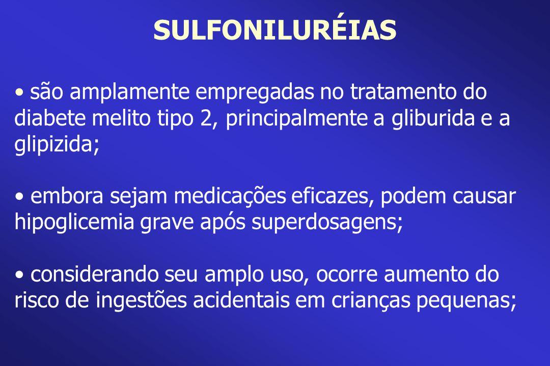 SULFONILURÉIAS são amplamente empregadas no tratamento do diabete melito tipo 2, principalmente a gliburida e a glipizida; embora sejam medicações efi