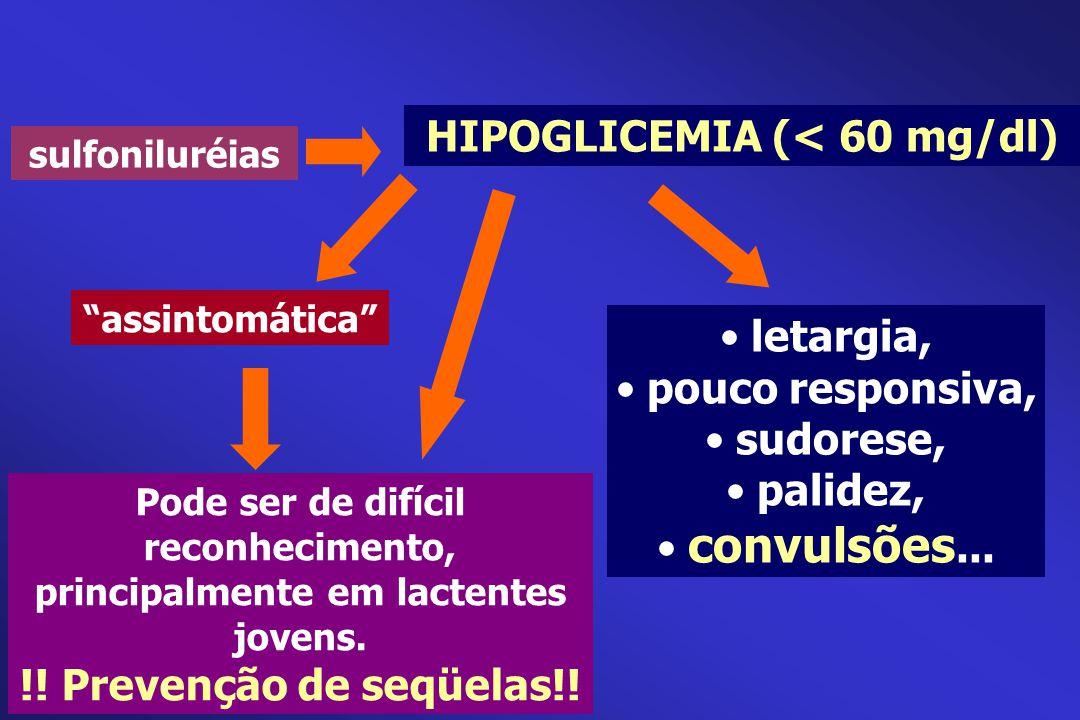 """sulfoniluréias """"assintomática"""" HIPOGLICEMIA (< 60 mg/dl) letargia, pouco responsiva, sudorese, palidez, convulsões... Pode ser de difícil reconhecimen"""