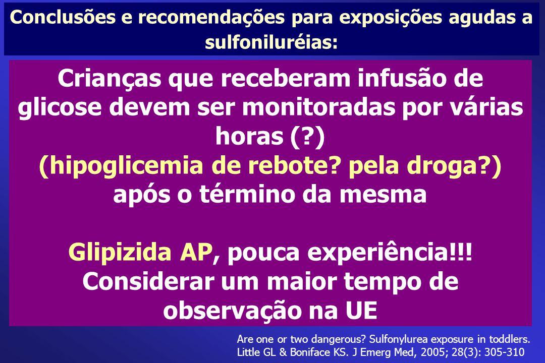 Conclusões e recomendações para exposições agudas a sulfoniluréias: Crianças que receberam infusão de glicose devem ser monitoradas por várias horas (