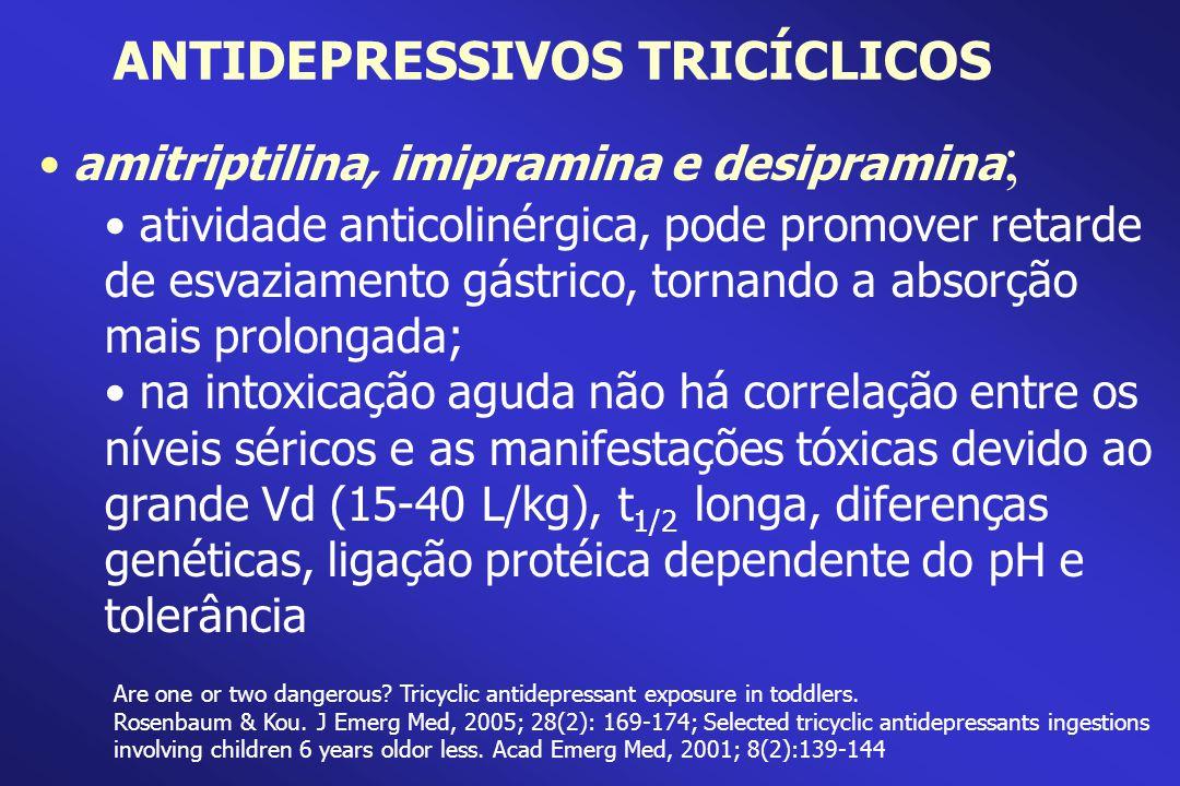 amitriptilina, imipramina e desipramina ; atividade anticolinérgica, pode promover retarde de esvaziamento gástrico, tornando a absorção mais prolonga