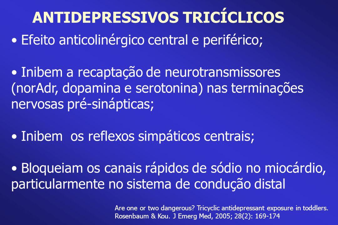 Efeito anticolinérgico central e periférico; Inibem a recaptação de neurotransmissores (norAdr, dopamina e serotonina) nas terminações nervosas pré-si