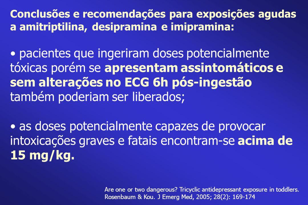 Conclusões e recomendações para exposições agudas a amitriptilina, desipramina e imipramina: pacientes que ingeriram doses potencialmente tóxicas poré