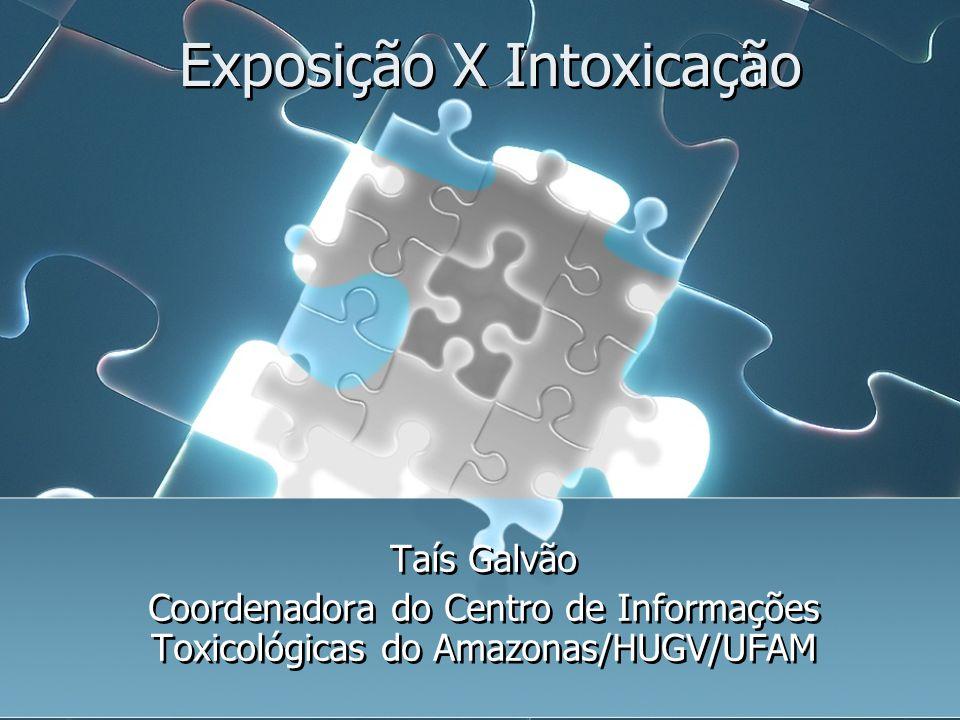 Exposição X Intoxicação Taís Galvão Coordenadora do Centro de Informações Toxicológicas do Amazonas/HUGV/UFAM Taís Galvão Coordenadora do Centro de In