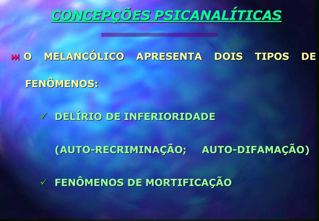  O MELANCÓLICO APRESENTA DOIS TIPOS DE FENÔMENOS: DELÍRIO DE INFERIORIDADE DELÍRIO DE INFERIORIDADE (AUTO-RECRIMINAÇÃO; AUTO-DIFAMAÇÃO) FENÔMENOS DE