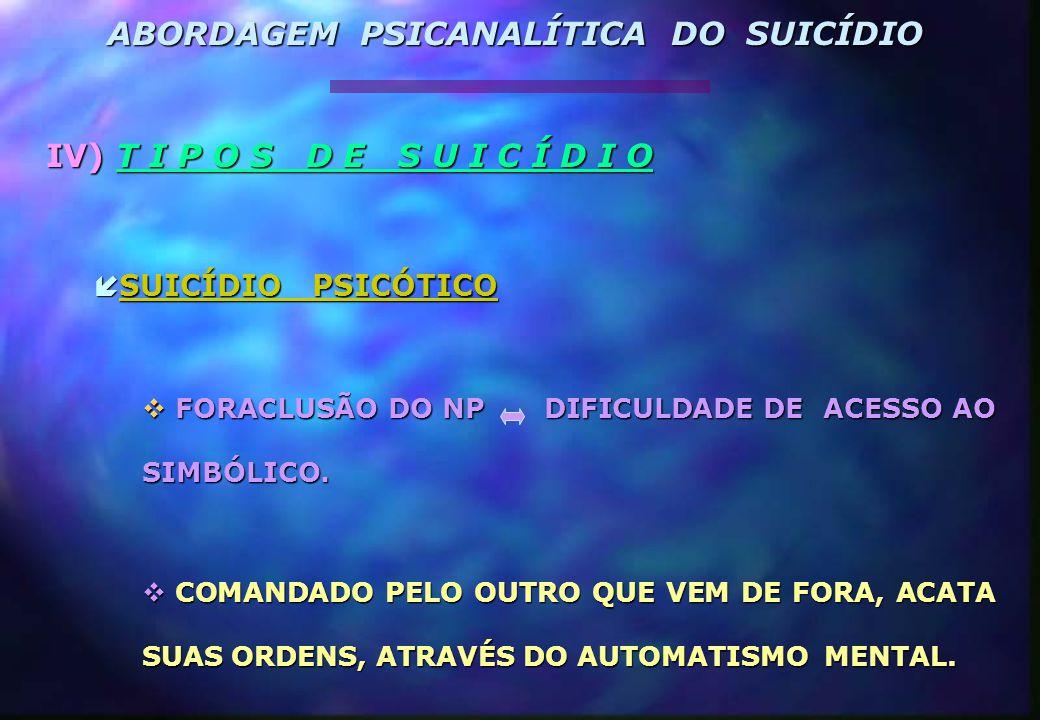 IV) T I P O S D E S U I C Í D I O  SUICÍDIO PSICÓTICO  FORACLUSÃO DO NP DIFICULDADE DE ACESSO AO SIMBÓLICO.  COMANDADO PELO OUTRO QUE VEM DE FORA,