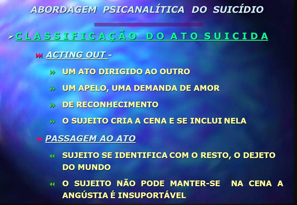  A T O S U I C I D A  L A C A N  MODO DE SAÍDA DA CADEIA SIGNIFICANTE.