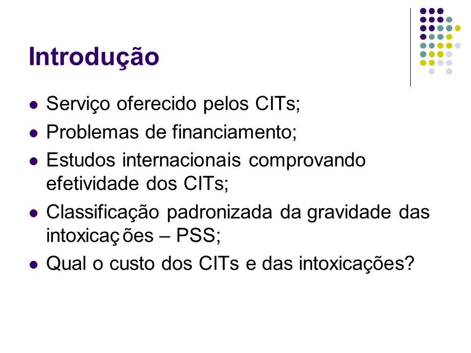 Introdução Serviço oferecido pelos CITs; Problemas de financiamento; Estudos internacionais comprovando efetividade dos CITs; Classificação padronizad