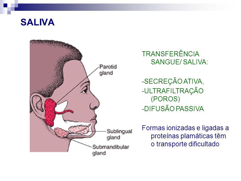 SALIVA TRANSFERÊNCIA SANGUE/ SALIVA: -SECREÇÃO ATIVA, -ULTRAFILTRAÇÃO (POROS) -DIFUSÃO PASSIVA Formas ionizadas e ligadas a proteínas plamáticas têm o transporte dificultado