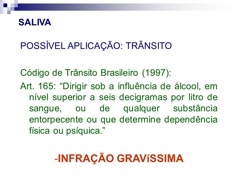 """POSSÍVEL APLICAÇÃO: TRÂNSITO Código de Trânsito Brasileiro (1997): Art. 165: """"Dirigir sob a influência de álcool, em nível superior a seis decigramas"""