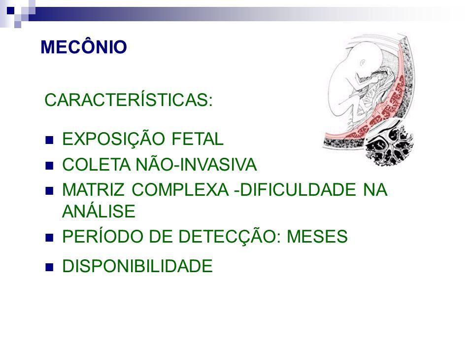 MECÔNIO CARACTERÍSTICAS: EXPOSIÇÃO FETAL COLETA NÃO-INVASIVA MATRIZ COMPLEXA -DIFICULDADE NA ANÁLISE PERÍODO DE DETECÇÃO: MESES DISPONIBILIDADE