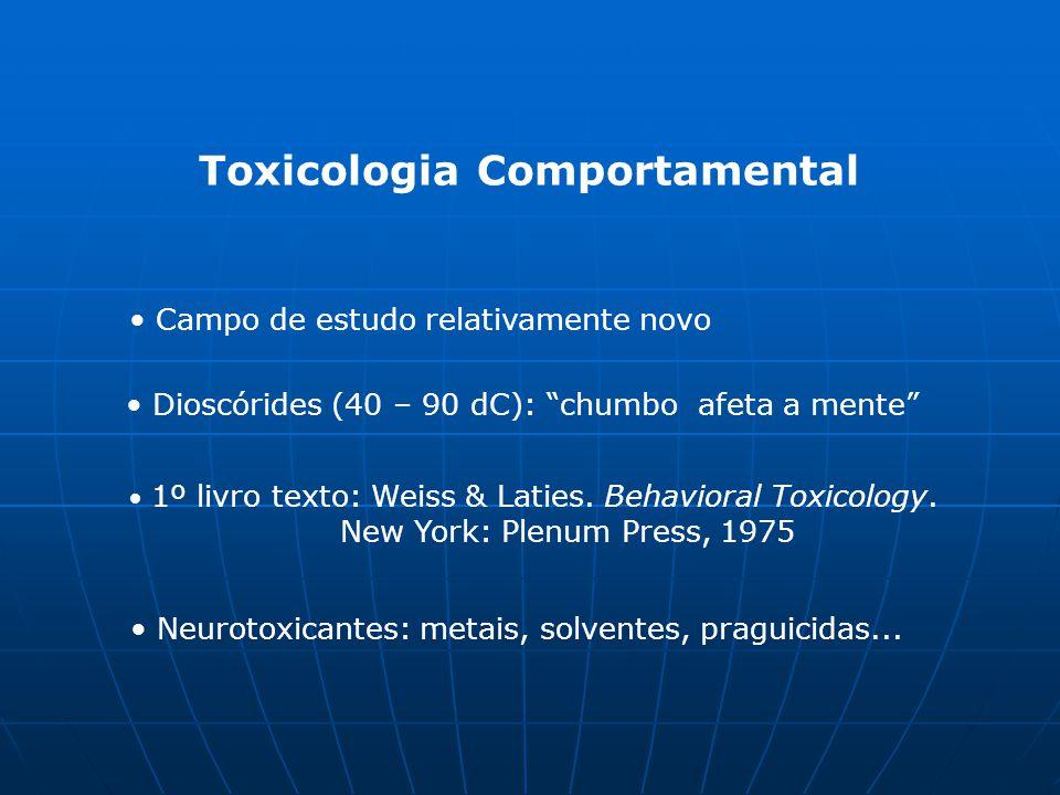 """Toxicologia Comportamental Campo de estudo relativamente novo Dioscórides (40 – 90 dC): """"chumbo afeta a mente"""" 1º livro texto: Weiss & Laties. Behavio"""