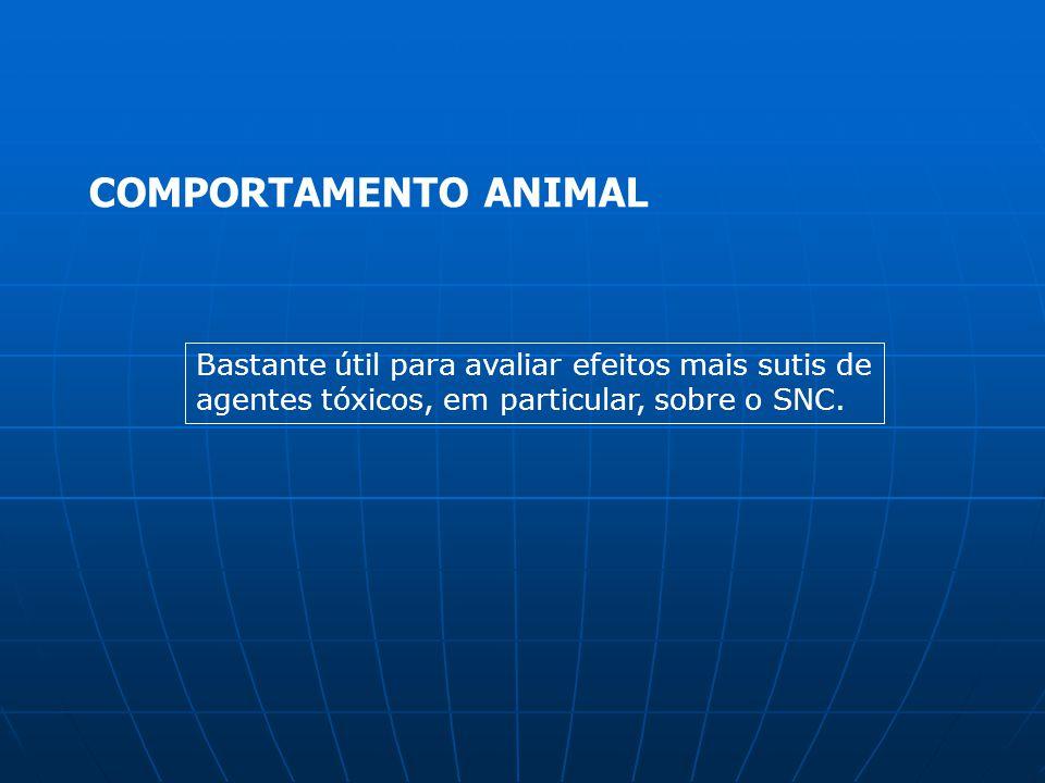 COMPORTAMENTO ANIMAL Bastante útil para avaliar efeitos mais sutis de agentes tóxicos, em particular, sobre o SNC.