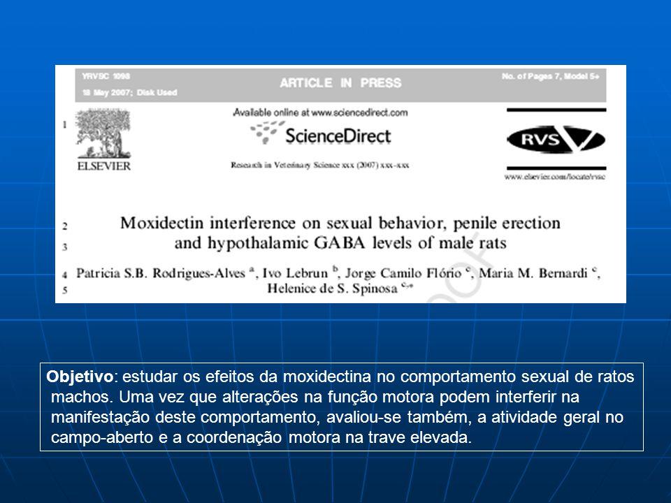 Objetivo: estudar os efeitos da moxidectina no comportamento sexual de ratos machos. Uma vez que alterações na função motora podem interferir na manif