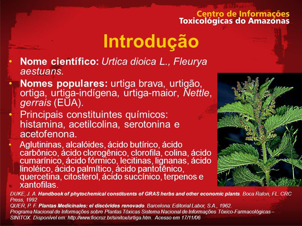 Introdução Nome científico: Urtica dioica L., Fleurya aestuans. Nomes populares: urtiga brava, urtigão, ortiga, urtiga-indígena, urtiga-maior, Nettle,