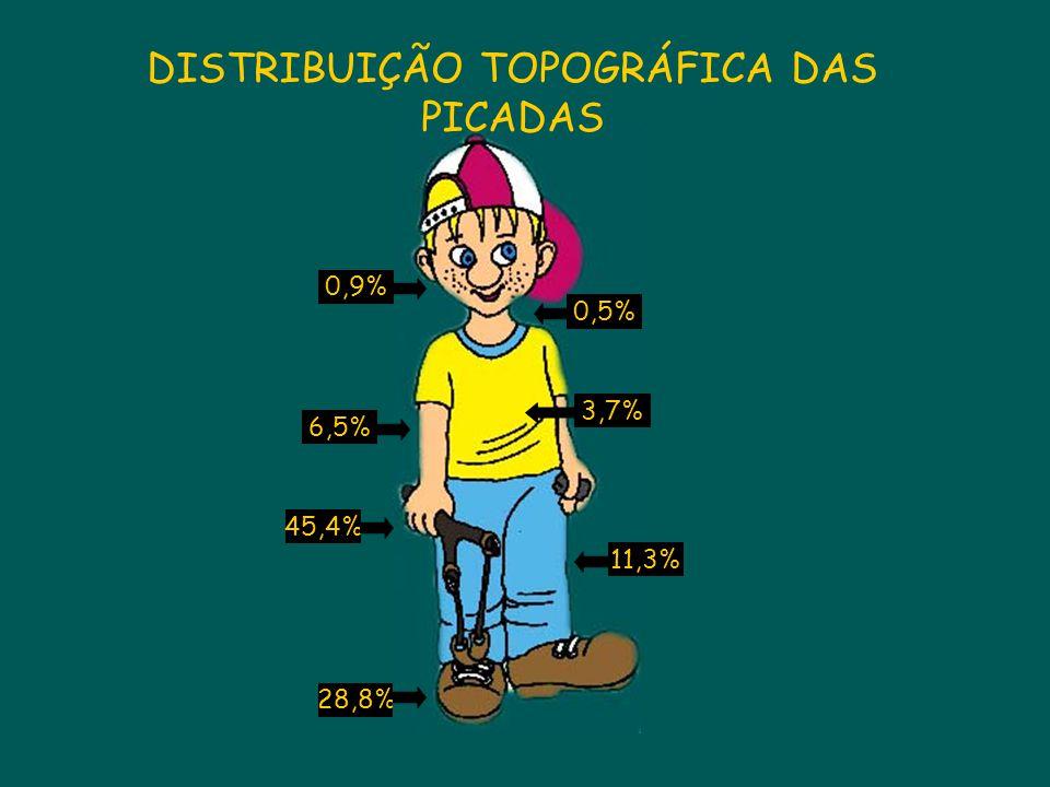 6,5% 28,8% 0,5% 45,4% 11,3% 3,7% 0,9% DISTRIBUIÇÃO TOPOGRÁFICA DAS PICADAS