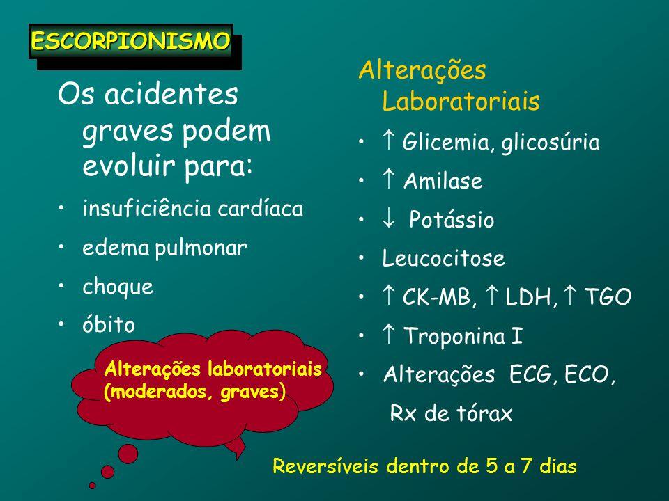 Os acidentes graves podem evoluir para: insuficiência cardíaca edema pulmonar choque óbito Alterações Laboratoriais  Glicemia, glicosúria  Amilase  Potássio Leucocitose  CK-MB,  LDH,  TGO  Troponina I Alterações ECG, ECO, Rx de tórax Alterações laboratoriais (moderados, graves) Reversíveis dentro de 5 a 7 dias ESCORPIONISMOESCORPIONISMO