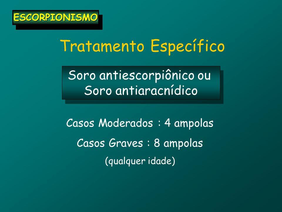 Tratamento Específico ESCORPIONISMOESCORPIONISMO Soro antiescorpiônico ou Soro antiaracnídico Soro antiescorpiônico ou Soro antiaracnídico Casos Moderados : 4 ampolas Casos Graves : 8 ampolas (qualquer idade)