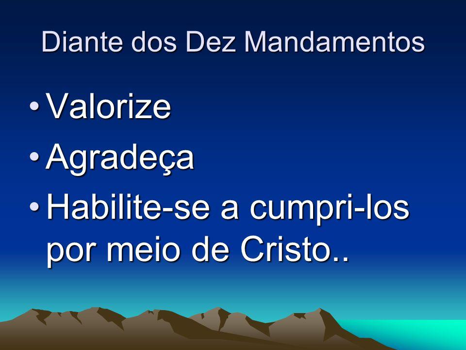 Diante dos Dez Mandamentos ValorizeValorize AgradeçaAgradeça Habilite-se a cumpri-los por meio de Cristo..Habilite-se a cumpri-los por meio de Cristo.