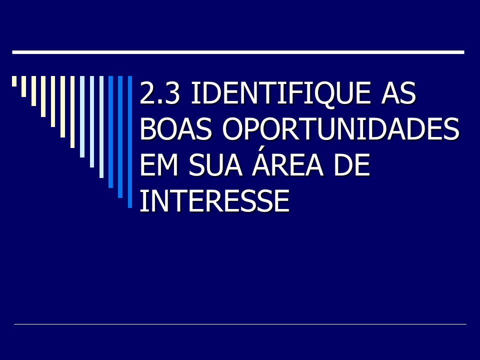 2.3 IDENTIFIQUE AS BOAS OPORTUNIDADES EM SUA ÁREA DE INTERESSE