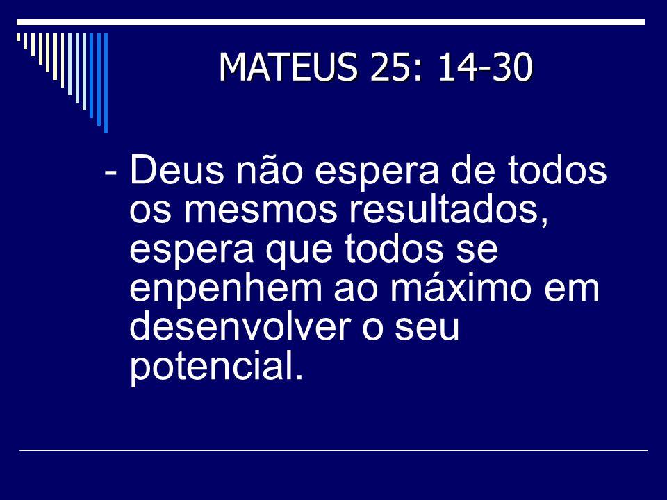 - Deus não espera de todos os mesmos resultados, espera que todos se enpenhem ao máximo em desenvolver o seu potencial. MATEUS 25: 14-30