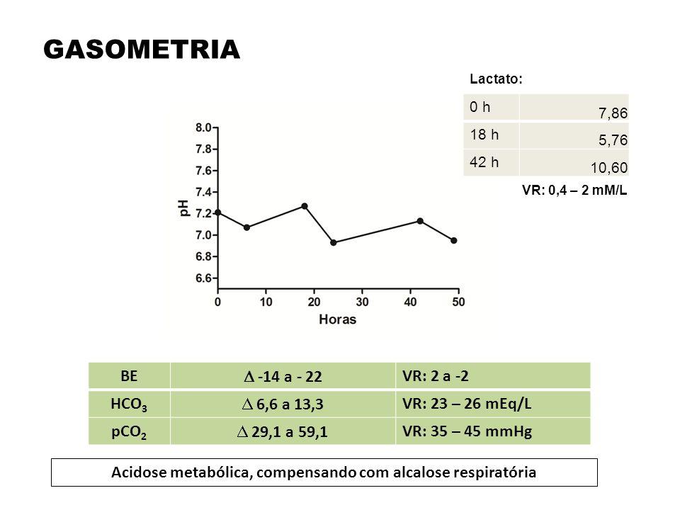 BE  -14 a - 22 VR: 2 a -2 HCO 3  6,6 a 13,3 VR: 23 – 26 mEq/L pCO 2  29,1 a 59,1 VR: 35 – 45 mmHg Acidose metabólica, compensando com alcalose resp