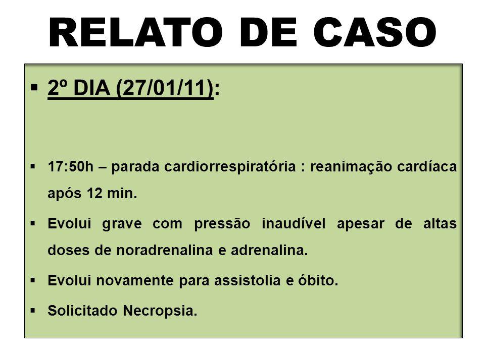RELATO DE CASO  2º DIA (27/01/11):  17:50h – parada cardiorrespiratória : reanimação cardíaca após 12 min.  Evolui grave com pressão inaudível apes