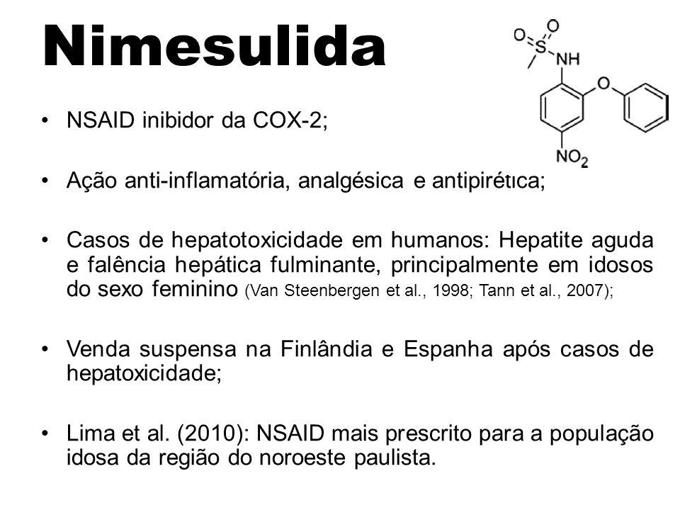 NSAID inibidor da COX-2; Ação anti-inflamatória, analgésica e antipirética; Casos de hepatotoxicidade em humanos: Hepatite aguda e falência hepática f