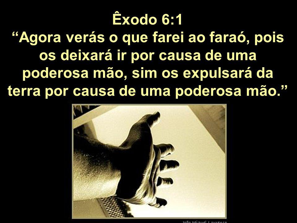 Êxodo 6:1 Agora verás o que farei ao faraó, pois os deixará ir por causa de uma poderosa mão, sim os expulsará da terra por causa de uma poderosa mão.