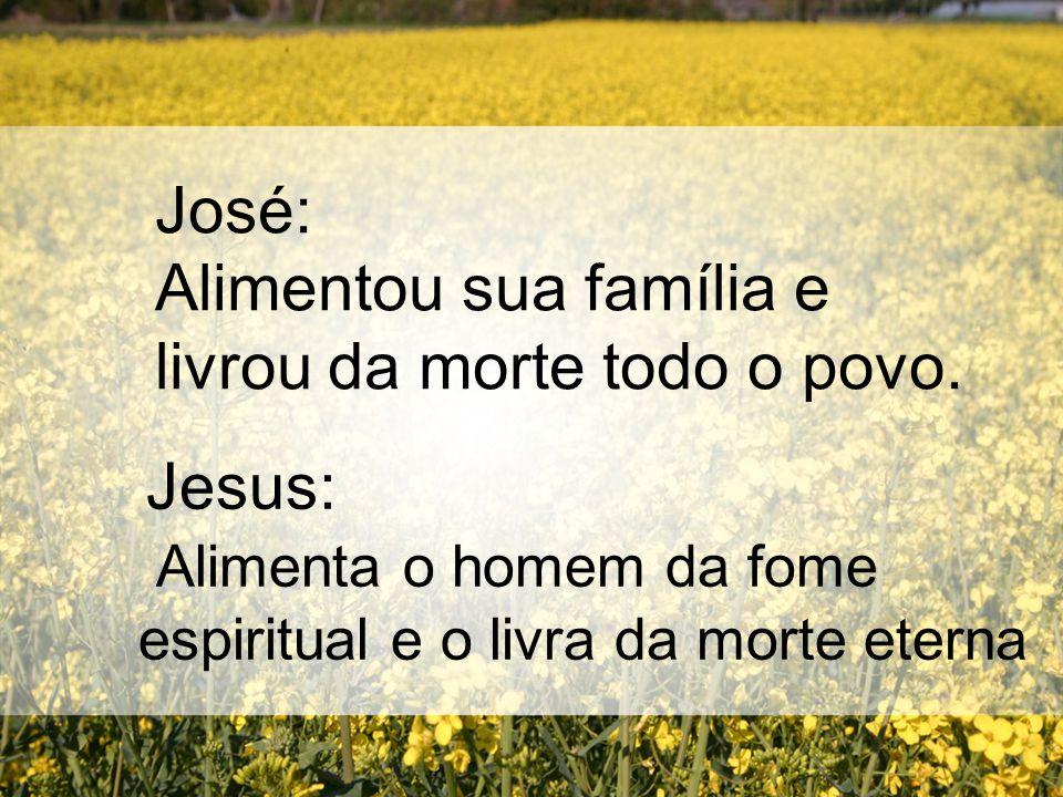 José: Alimentou sua família e livrou da morte todo o povo. Jesus: Alimenta o homem da fome espiritual e o livra da morte eterna