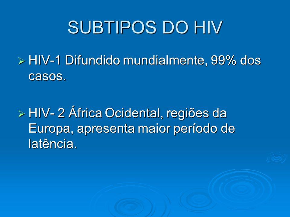 SUBTIPOS DO HIV  HIV-1 Difundido mundialmente, 99% dos casos.  HIV- 2 África Ocidental, regiões da Europa, apresenta maior período de latência.
