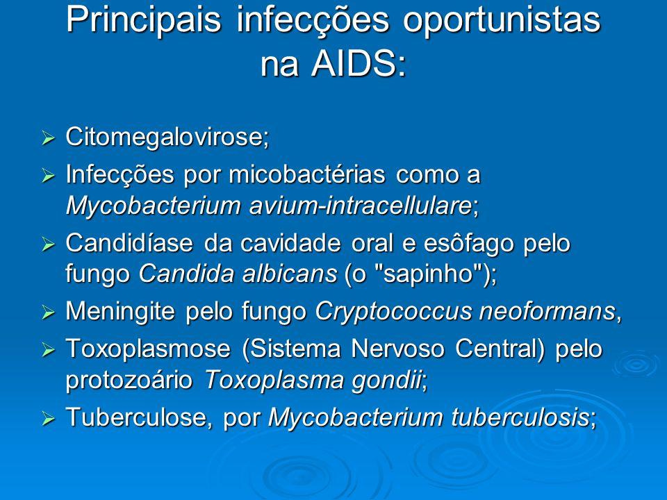 Principais infecções oportunistas na AIDS:  Citomegalovirose;  Infecções por micobactérias como a Mycobacterium avium-intracellulare;  Candidíase d