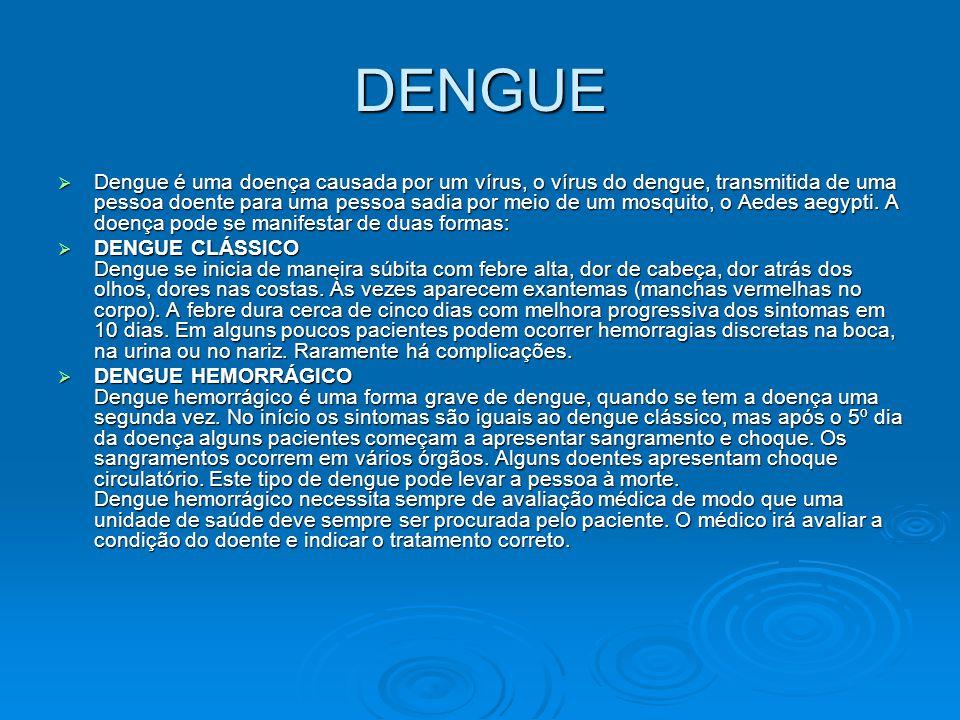 DENGUE  Dengue é uma doença causada por um vírus, o vírus do dengue, transmitida de uma pessoa doente para uma pessoa sadia por meio de um mosquito,