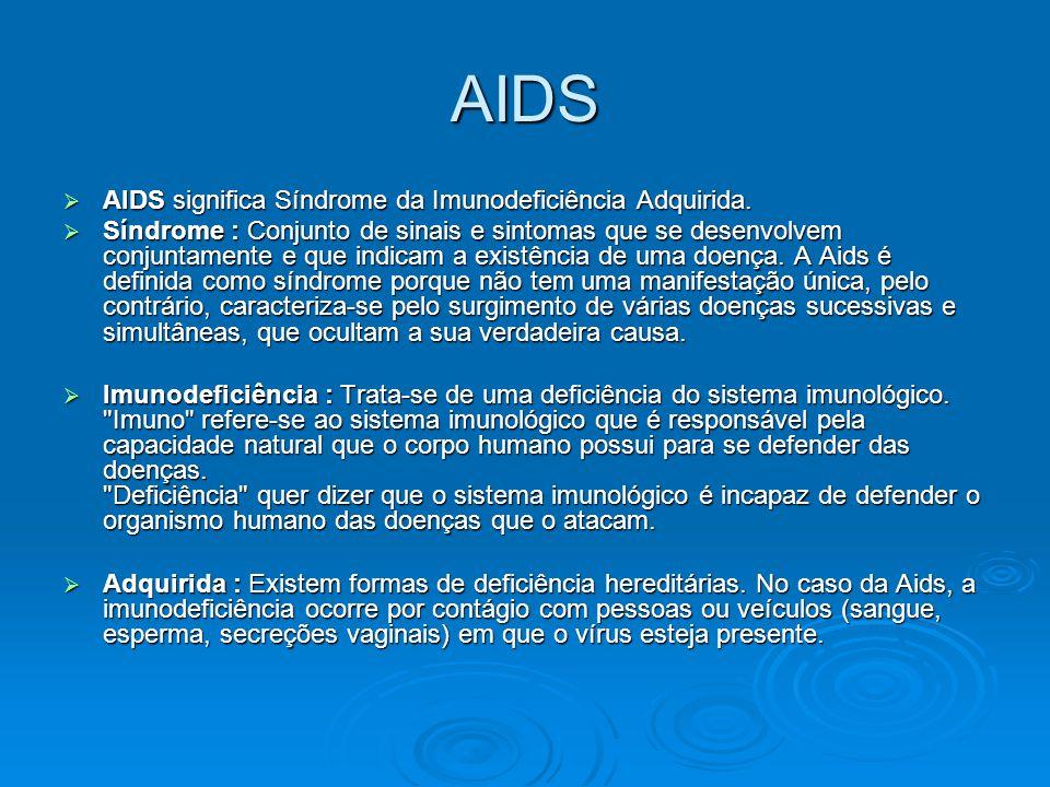 AIDS  AIDS significa Síndrome da Imunodeficiência Adquirida.  Síndrome : Conjunto de sinais e sintomas que se desenvolvem conjuntamente e que indica