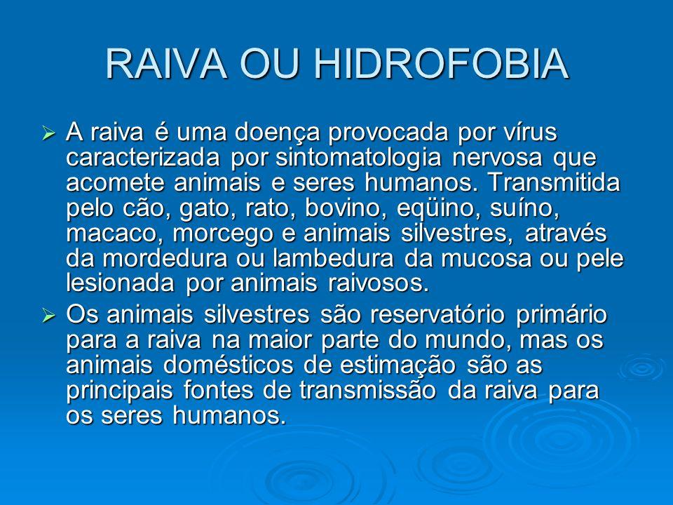 RAIVA OU HIDROFOBIA  A raiva é uma doença provocada por vírus caracterizada por sintomatologia nervosa que acomete animais e seres humanos. Transmiti