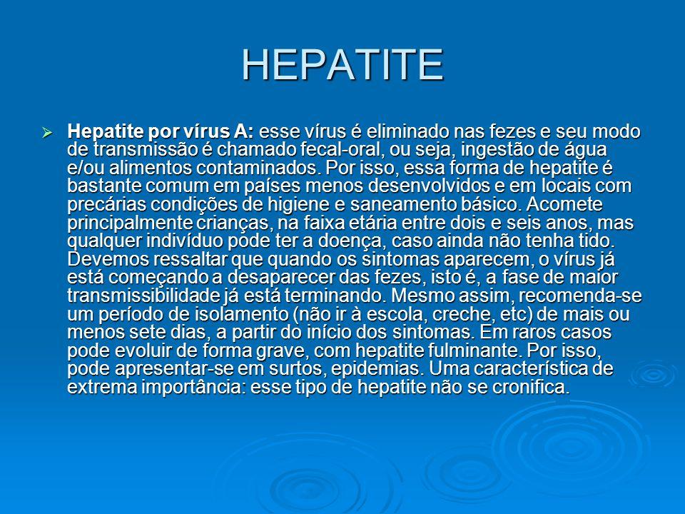 HEPATITE  Hepatite por vírus A: esse vírus é eliminado nas fezes e seu modo de transmissão é chamado fecal-oral, ou seja, ingestão de água e/ou alime