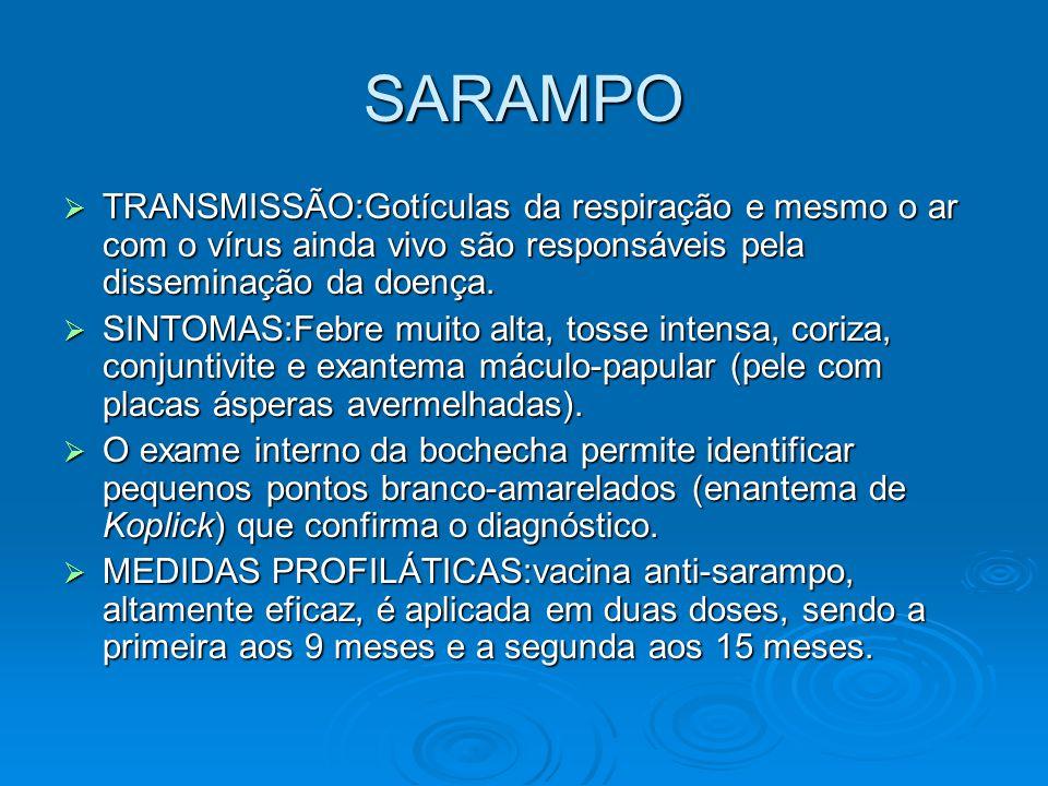 SARAMPO  TRANSMISSÃO:Gotículas da respiração e mesmo o ar com o vírus ainda vivo são responsáveis pela disseminação da doença.  SINTOMAS:Febre muito