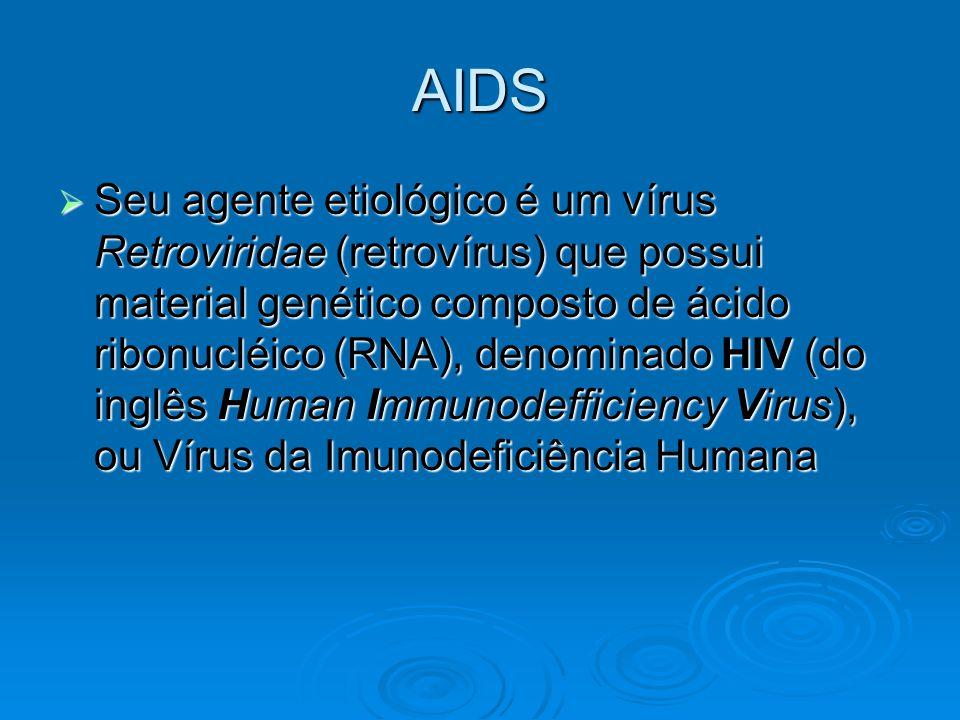 AIDS  Seu agente etiológico é um vírus Retroviridae (retrovírus) que possui material genético composto de ácido ribonucléico (RNA), denominado HIV (d