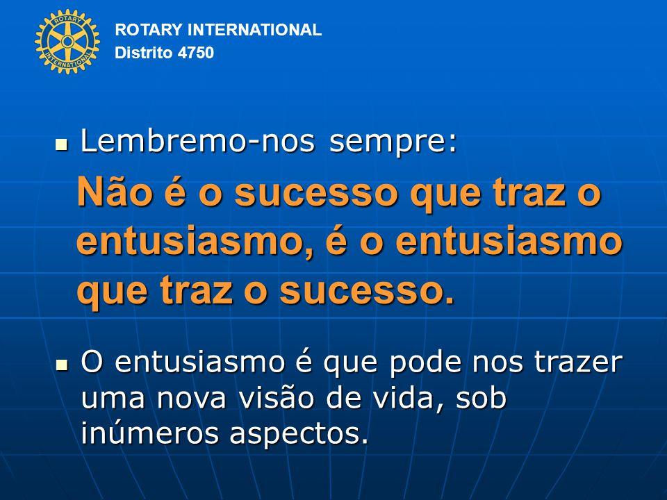 ROTARY INTERNATIONAL Distrito 4750 Lembremo-nos sempre: Lembremo-nos sempre: Não é o sucesso que traz o entusiasmo, é o entusiasmo que traz o sucesso.