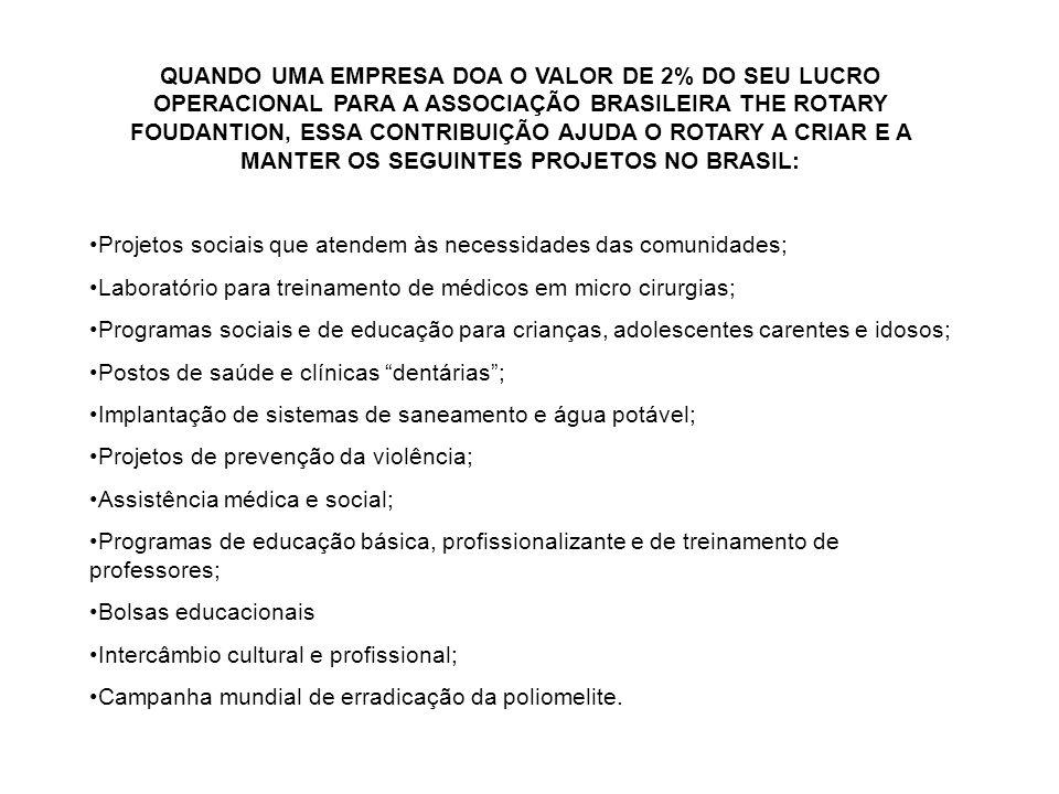 QUANDO UMA EMPRESA DOA O VALOR DE 2% DO SEU LUCRO OPERACIONAL PARA A ASSOCIAÇÃO BRASILEIRA THE ROTARY FOUDANTION, ESSA CONTRIBUIÇÃO AJUDA O ROTARY A CRIAR E A MANTER OS SEGUINTES PROJETOS NO BRASIL: Projetos sociais que atendem às necessidades das comunidades; Laboratório para treinamento de médicos em micro cirurgias; Programas sociais e de educação para crianças, adolescentes carentes e idosos; Postos de saúde e clínicas dentárias ; Implantação de sistemas de saneamento e água potável; Projetos de prevenção da violência; Assistência médica e social; Programas de educação básica, profissionalizante e de treinamento de professores; Bolsas educacionais Intercâmbio cultural e profissional; Campanha mundial de erradicação da poliomelite.