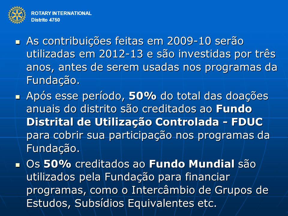 ROTARY INTERNATIONAL Distrito 4750 As contribuições feitas em 2009-10 serão utilizadas em 2012-13 e são investidas por três anos, antes de serem usadas nos programas da Fundação.